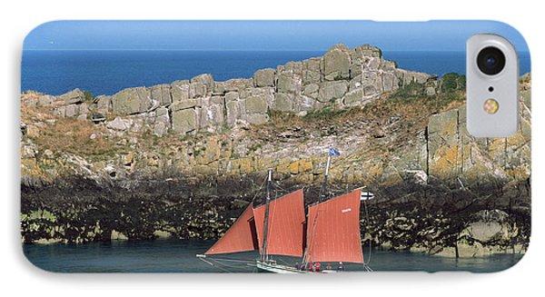 Tall Ship In Sea, Pointe Du Grouin IPhone Case