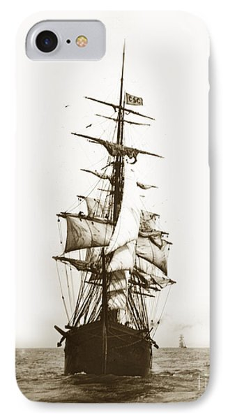 IPhone Case featuring the photograph Tall Ship Sailing Out Of San Francisco California Circa 1900 by California Views Mr Pat Hathaway Archives