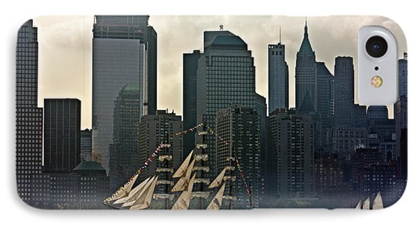 Tall Ship Sailing Past The New York Skyline IPhone Case by Nishanth Gopinathan