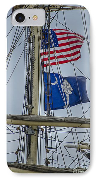 IPhone Case featuring the photograph Tall Ships Flags by Dale Powell