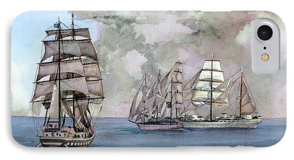 Tall Ships Off Newport Phone Case by Steve Hamlin