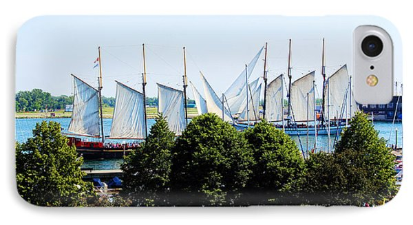 Tall Ships Passing IPhone Case by Nicky Jameson