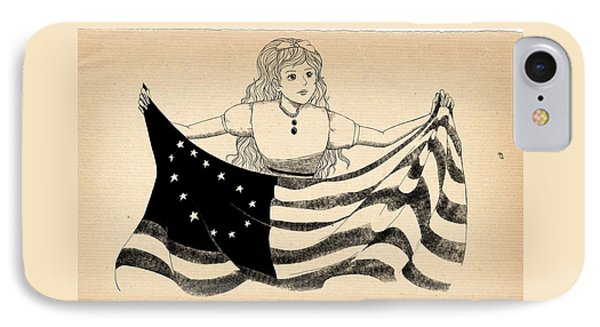 IPhone Case featuring the drawing Tammy And The Flag by Reynold Jay