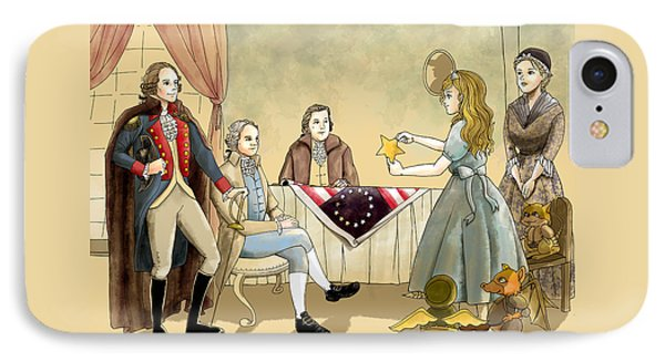 IPhone Case featuring the painting Tammy Meets Betsy Ross And George Washington by Reynold Jay