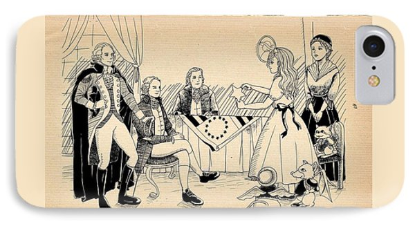 IPhone Case featuring the drawing Tammy Meets Betsy Ross by Reynold Jay