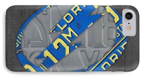 Tampa Bay Lightning Retro Hockey Team Logo Recycled Florida License Plate Art IPhone Case