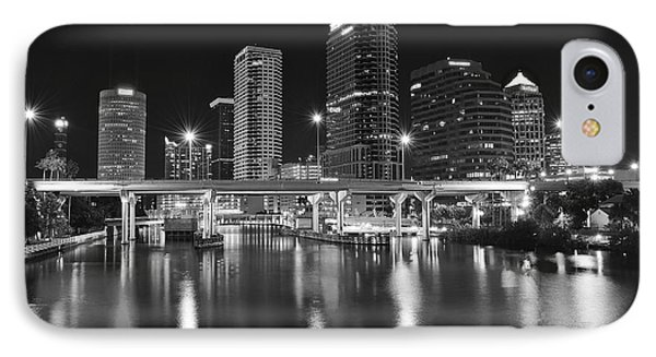 Tampa Black And White Night IPhone Case by Frozen in Time Fine Art Photography