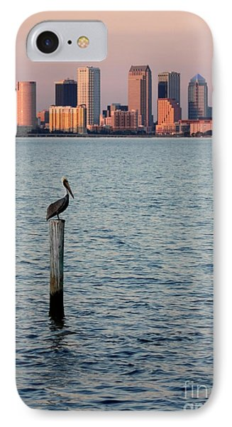 Tampa Skyline And Pelican Phone Case by Carol Groenen