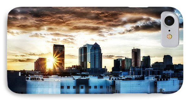 Tampa Skyline At Sunset Hdr 1 IPhone Case by Michael White