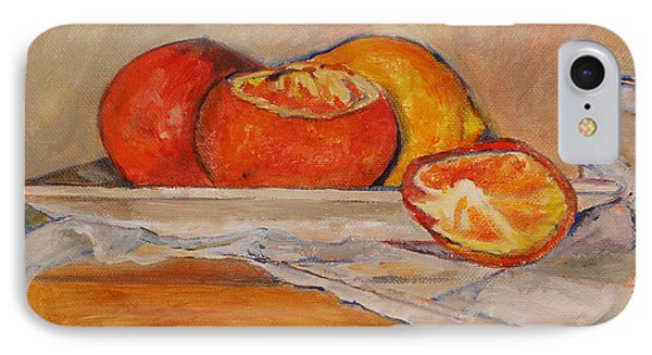 Tangerines With Lemon IPhone Case by Barbara Moak