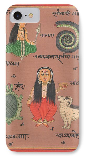 Tantra Yantra Artwork Miniature Painting India Vedic Artwork Goddess Santoshi Ma IPhone Case by A K Mundhra