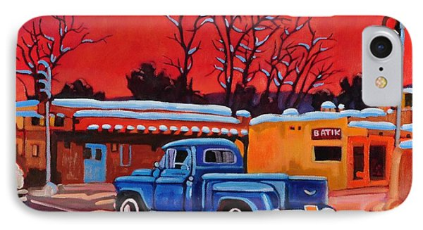IPhone Case featuring the painting Taos Blue Truck At Dusk by Art West