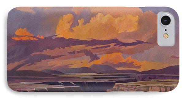 IPhone Case featuring the painting Taos Gorge - Pastel Sky by Art James West