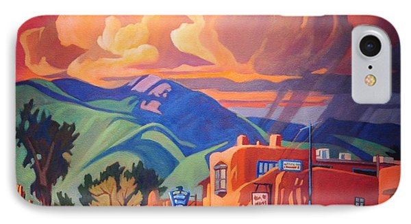 IPhone Case featuring the painting Taos Inn Monsoon by Art James West
