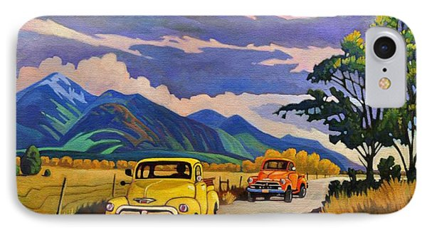IPhone Case featuring the painting Taos Joy Ride With Yellow And Orange Trucks by Art West