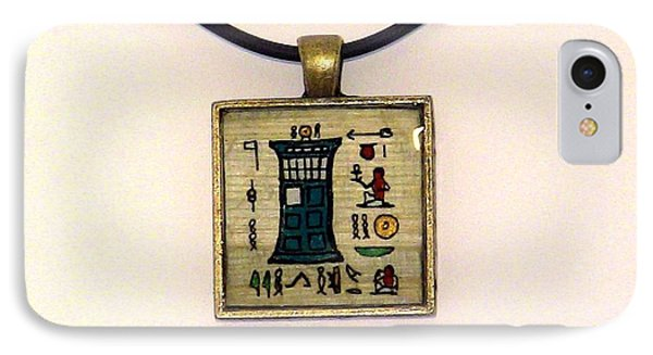 Tardis Faux Artifact Miniature Painting On Papyrus Mounted In Pendant Phone Case by Pet Serrano