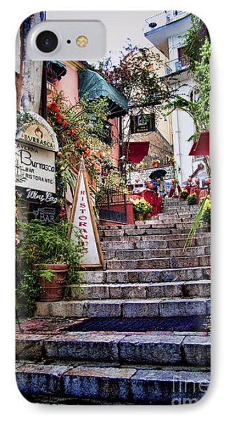 Taormina Steps Sicily IPhone Case by David Smith