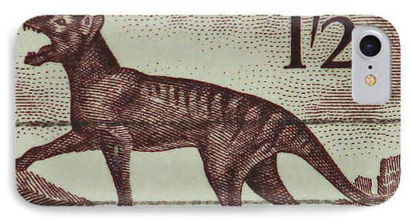 Tasmanian Tiger Vintage Postage Stamp IPhone Case by Andy Prendy