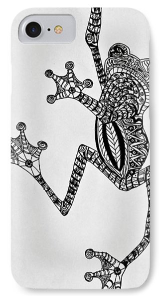 Tattooed Tree Frog - Zentangle IPhone Case by Jani Freimann