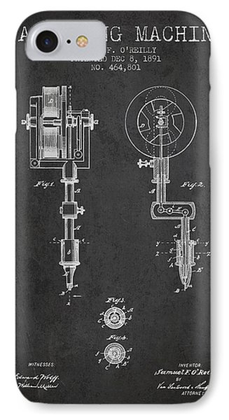 Tattooing Machine Patent From 1891 - Charcoal IPhone Case by Aged Pixel