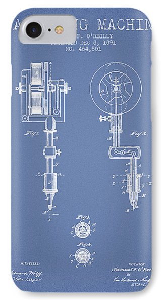 Tattooing Machine Patent From 1891 - Light Blue IPhone Case