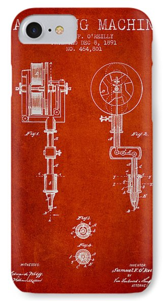 Tattooing Machine Patent From 1891 - Red IPhone Case