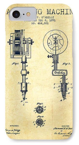 Tattooing Machine Patent From 1891 - Vintage IPhone Case by Aged Pixel