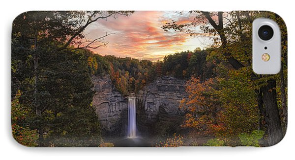 Taughannock Falls Autumn Sunset IPhone Case by Michele Steffey