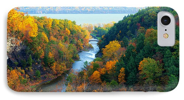 Taughannock River Canyon In Colorful Autumn Ithaca New York Panoramic Photography  IPhone Case by Paul Ge