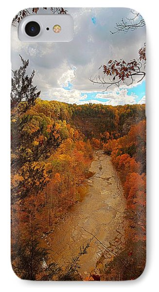 IPhone Case featuring the painting Taughannock River Canyon In Colorful Fall Ithaca New York IIi by Paul Ge