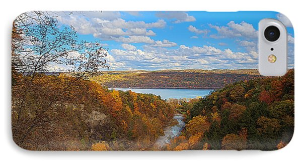 IPhone Case featuring the painting Taughannock River Canyon In Colorful Fall Ithaca New York Iv by Paul Ge
