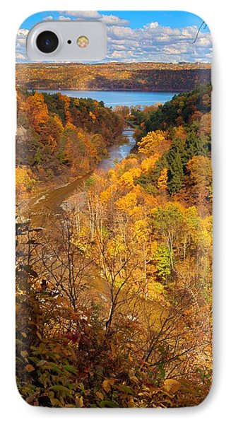 IPhone Case featuring the photograph Taughannock River Canyon In Colorful Fall Ithaca New York by Paul Ge