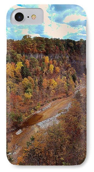 IPhone Case featuring the painting Taughannock River Canyon In Colorful Fall Ithaca New York V by Paul Ge