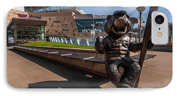 T.c. Statue And Target Field IPhone Case by Tom Gort