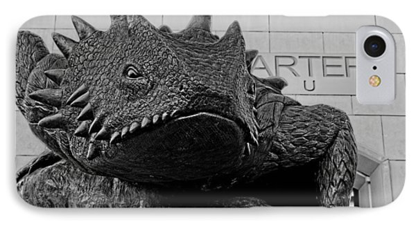 Tcu Horned Frog Black And White IPhone Case by Jonathan Davison