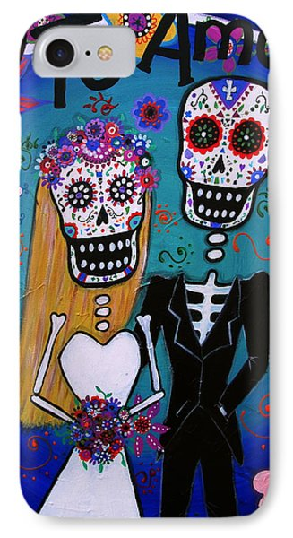 Te Amo Wedding Dia De Los Muertos IPhone Case by Pristine Cartera Turkus