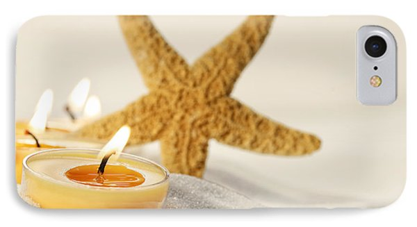 Tea Light Candles In Sand With Star Fish IPhone Case by Sandra Cunningham