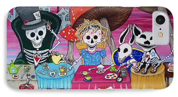 Tea Party Day Of The Dead Alice In Wonderland IPhone Case by Julie Ellison