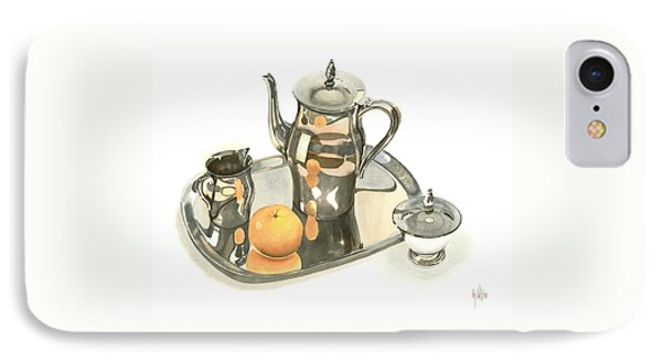 Tea Service With Orange Dramatic Phone Case by Kip DeVore
