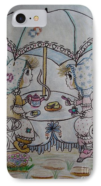 IPhone Case featuring the drawing Tea Time by Lori  Lovetere