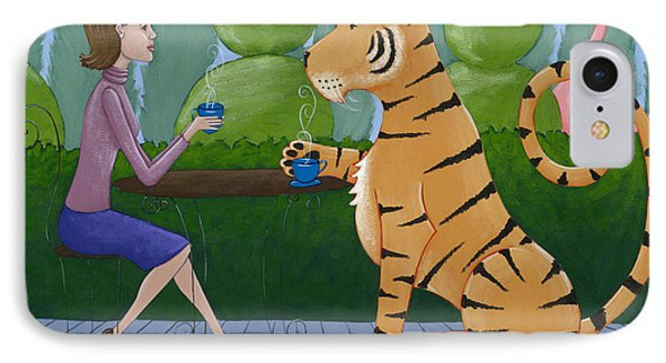 Tea With A Tiger Phone Case by Christy Beckwith