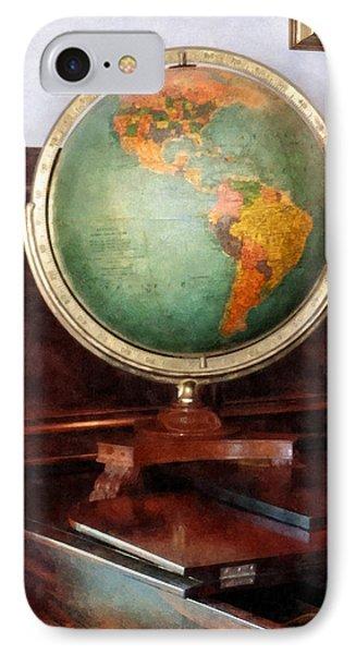 Teacher - Globe On Piano Phone Case by Susan Savad