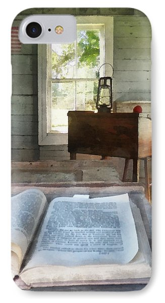 Teacher - One Room Schoolhouse With Book Phone Case by Susan Savad