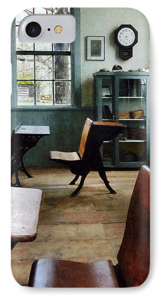 Teacher - One Room Schoolhouse With Clock Phone Case by Susan Savad