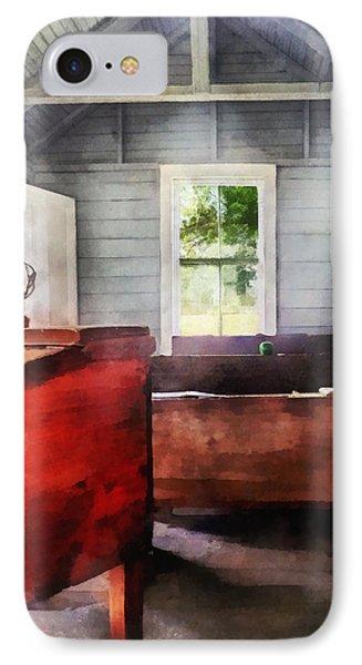 Teacher - One Room Schoolhouse With Hurricane Lamp Phone Case by Susan Savad