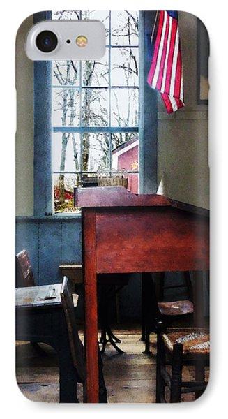 Teacher - Schoolmaster's Desk Phone Case by Susan Savad