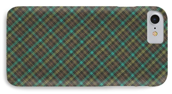 Teal And Green Diagonal Plaid Pattern Fabric Background IPhone Case