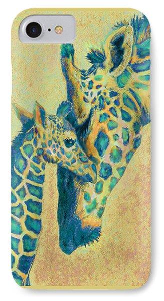 Teal Giraffes IPhone Case by Jane Schnetlage