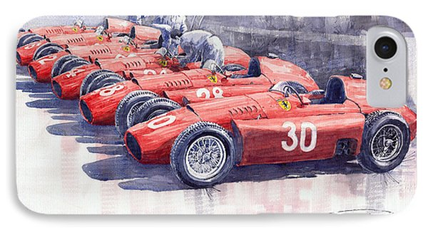 1956 Team Lancia Ferrari D50 Type C 1956 Italian Gp IPhone Case by Yuriy  Shevchuk