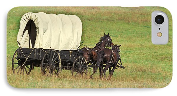 Team Of Horses Pulling A Covered Wagon IPhone Case by Ron Sanford